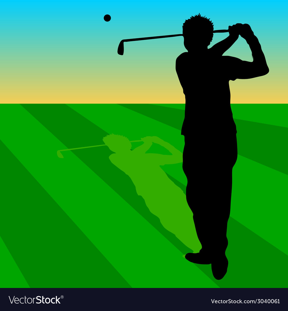 Golfer black on green grass