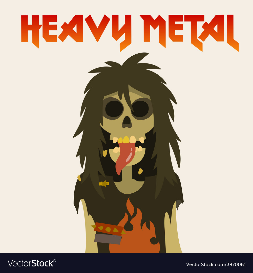 Heavy metal skeleton with symbol sign of the horns