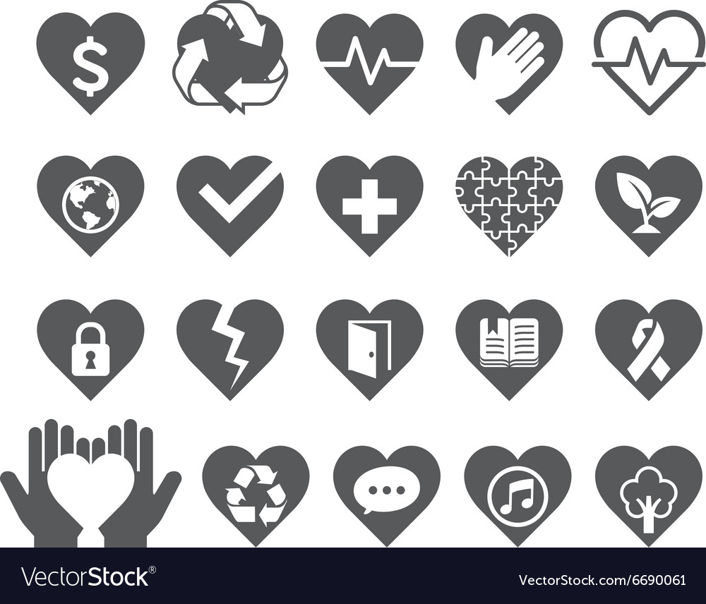 Love concept heart line icons style