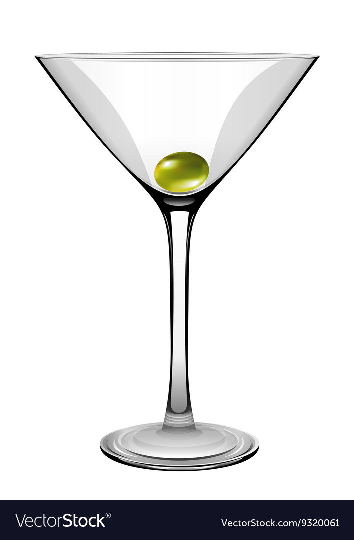 Martini Glass With Olive Royalty Free Vector Image
