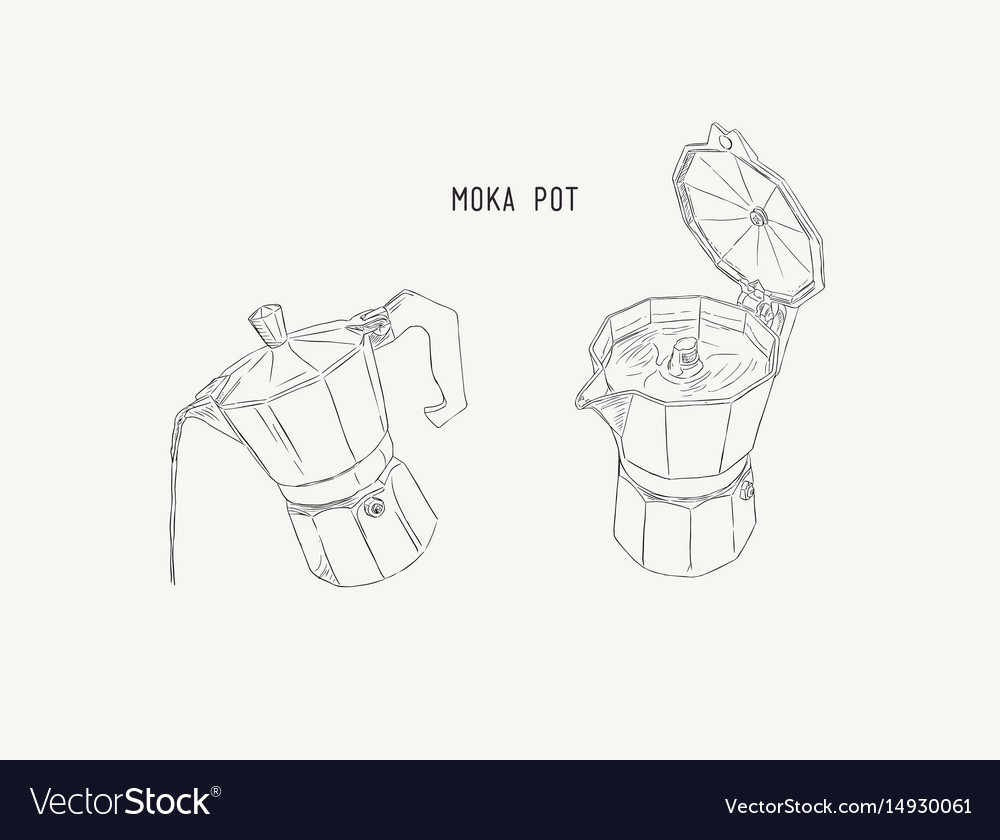 Moka pot coffee brewing sketh vector image