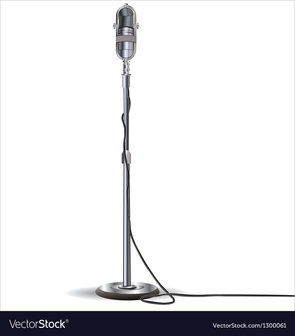 Old styled microphone isolated on white background vector image