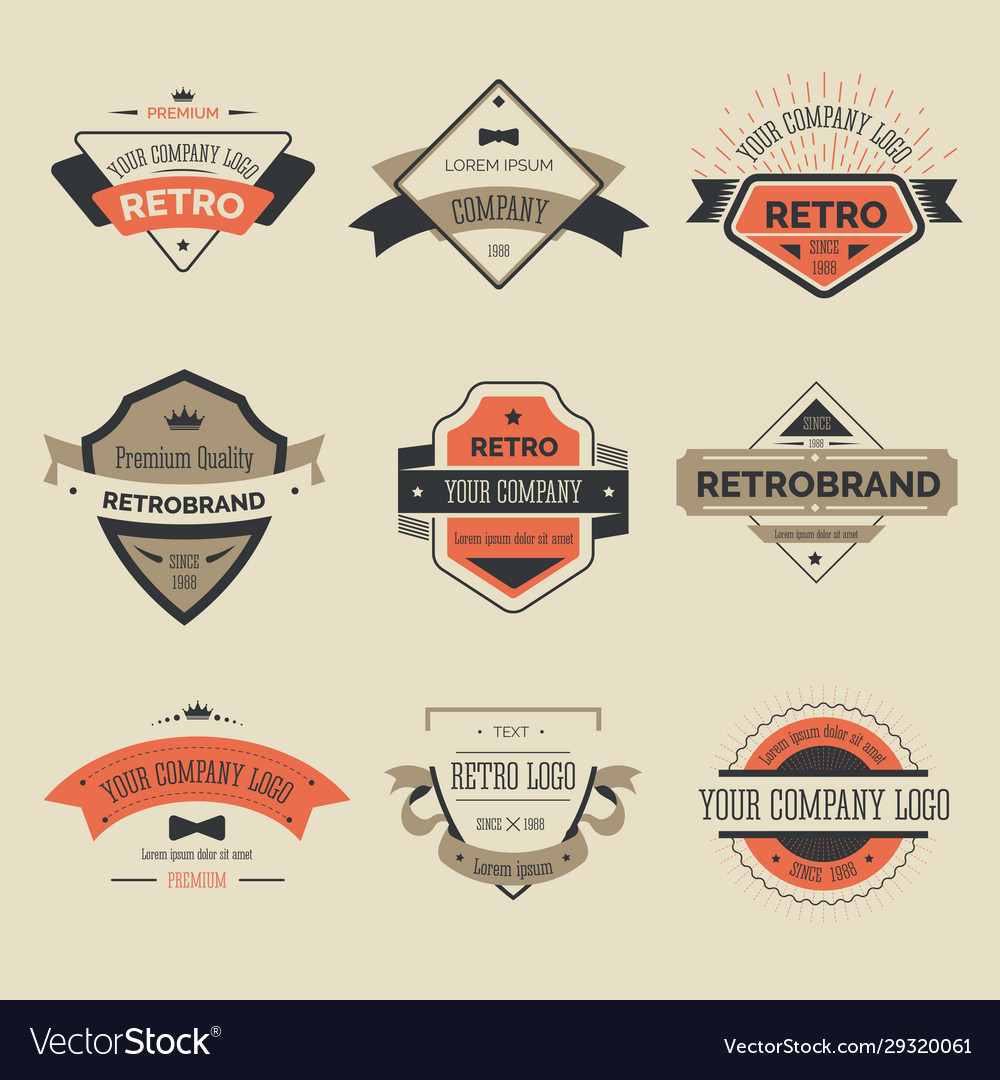 Retro labels or brand isolated icons company