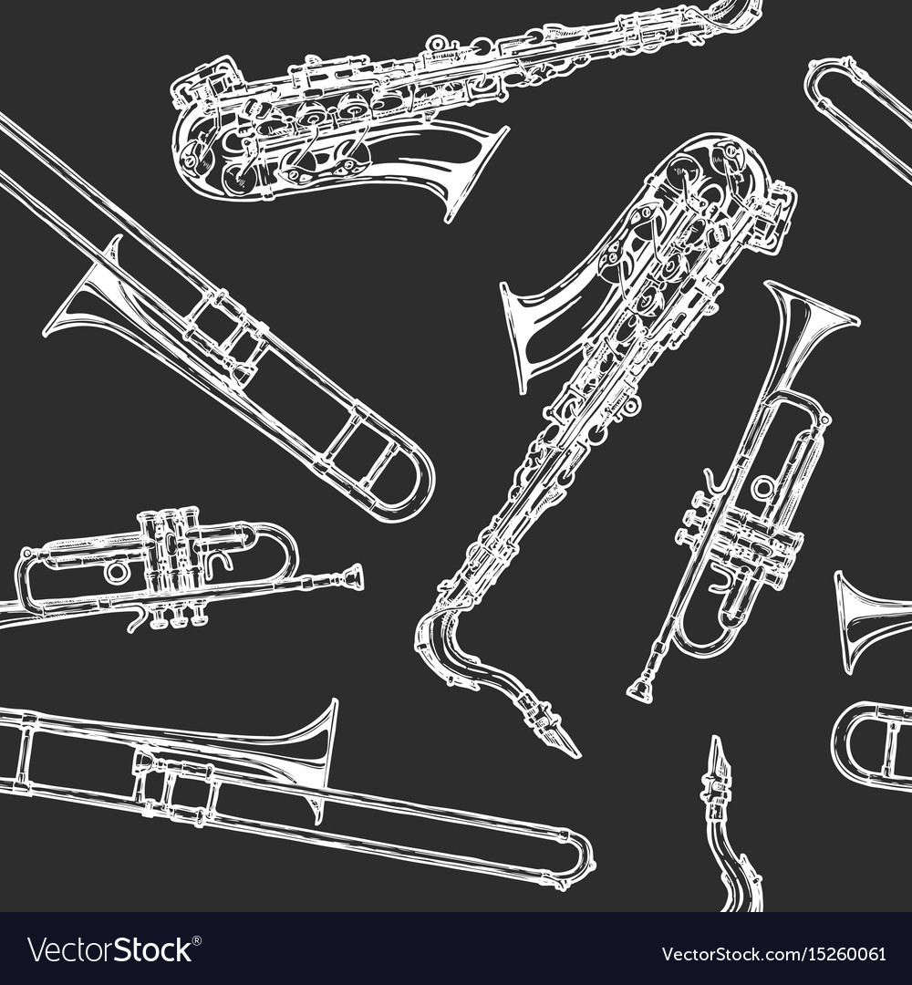 Seamless pattern with woodwind and brass musical