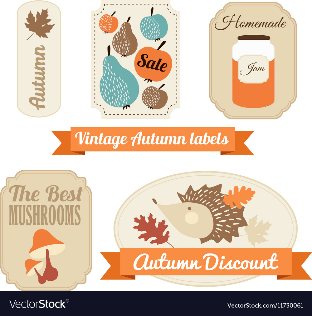Set of vintage autumn fall labels tags stickers