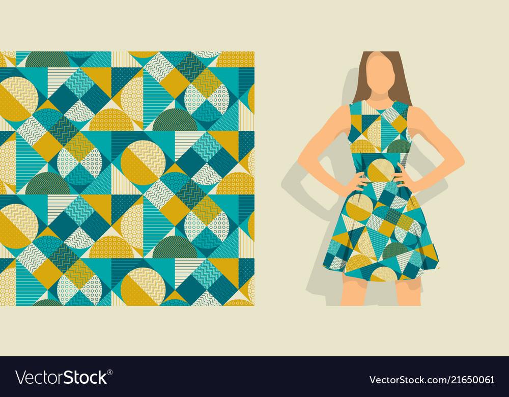 Vintage round geometric seamless pattern
