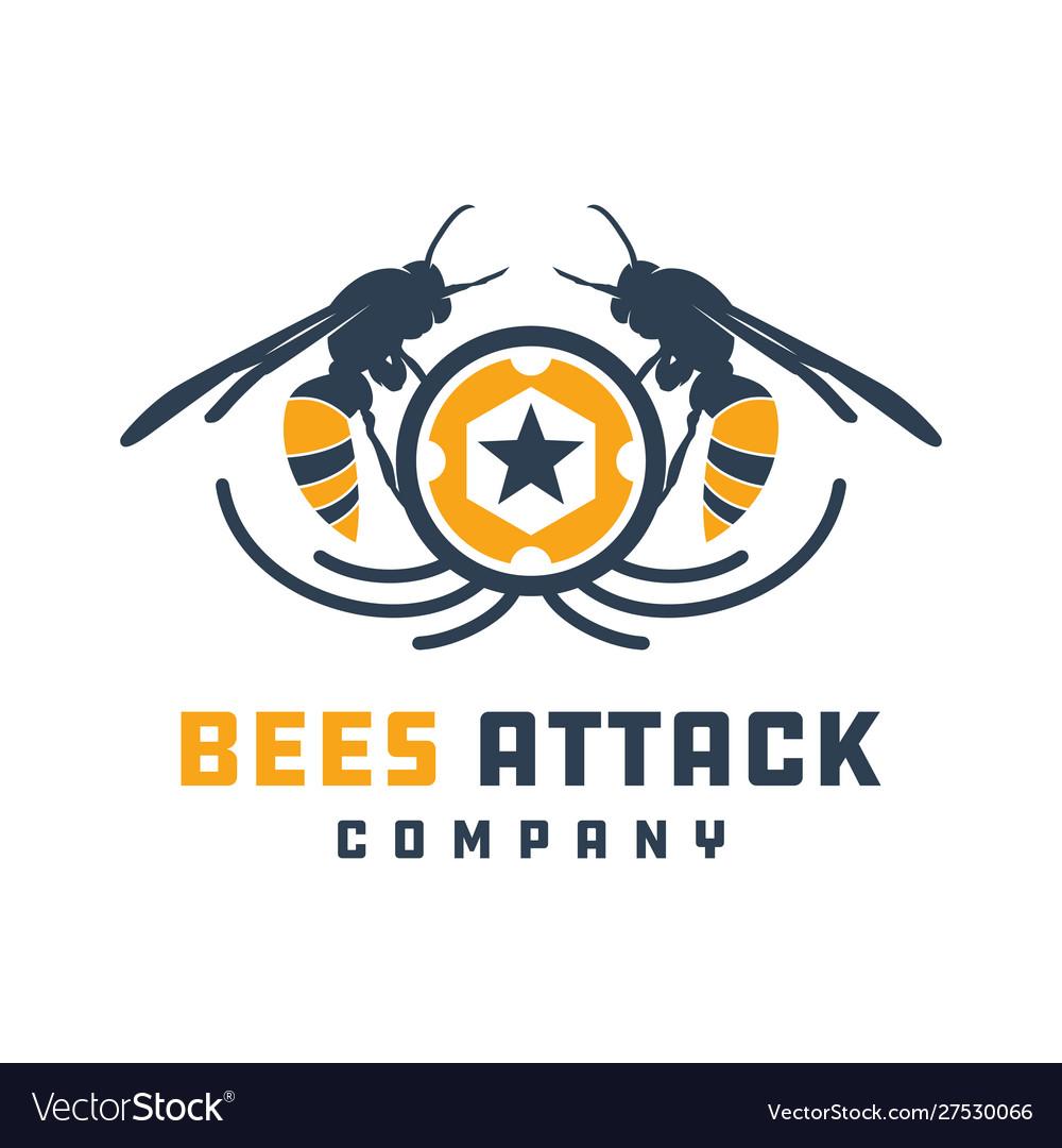 Bees attacking animal logo design