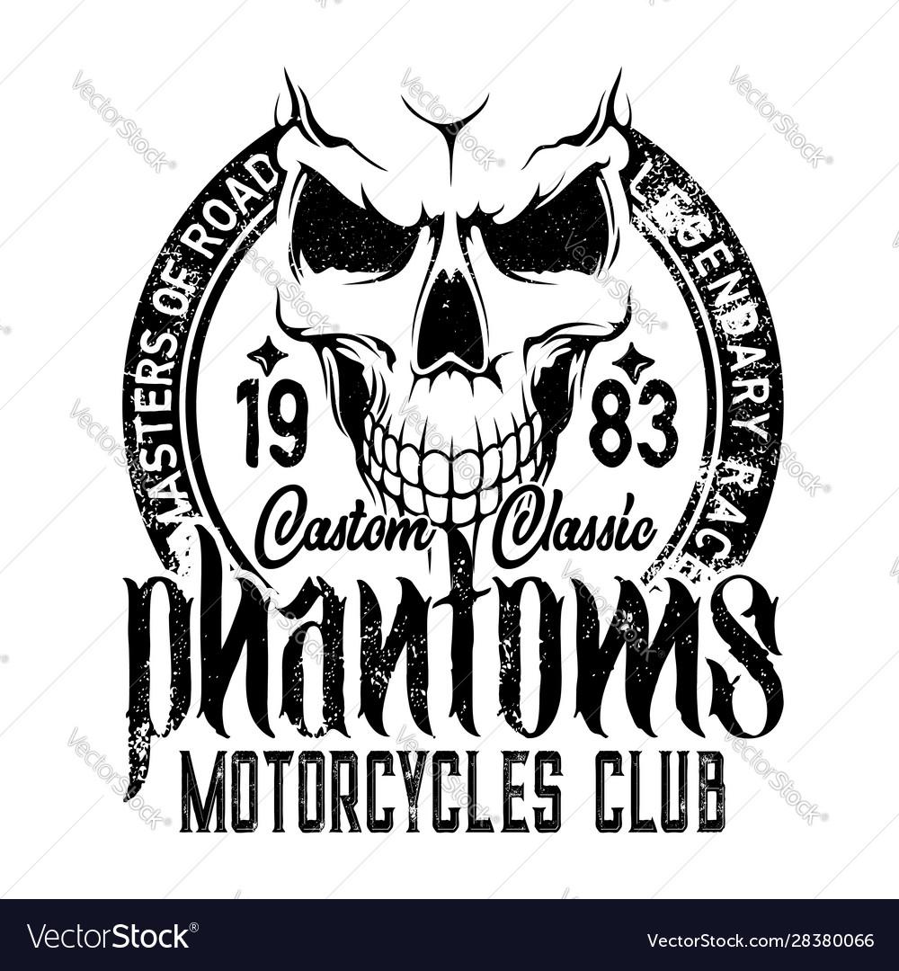 Biker riders club badge motorcycle skeleton skull