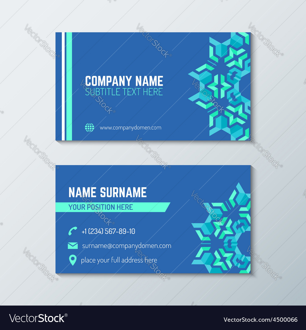 Blue green abstract business card template