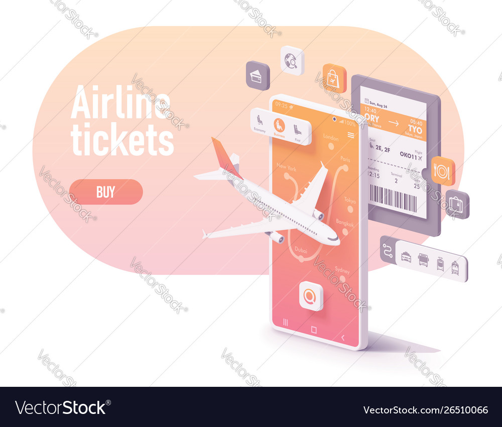 Booking airline tickets app concept