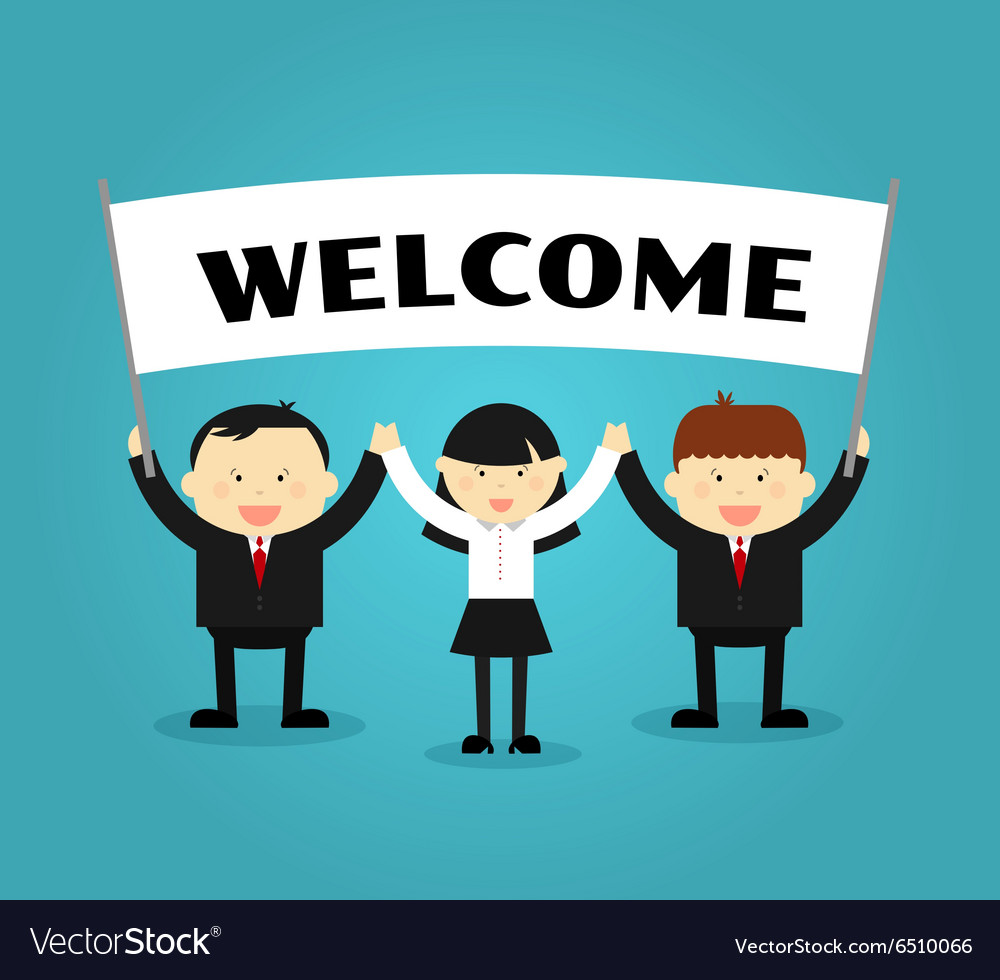 Businessmen holding welcome placard