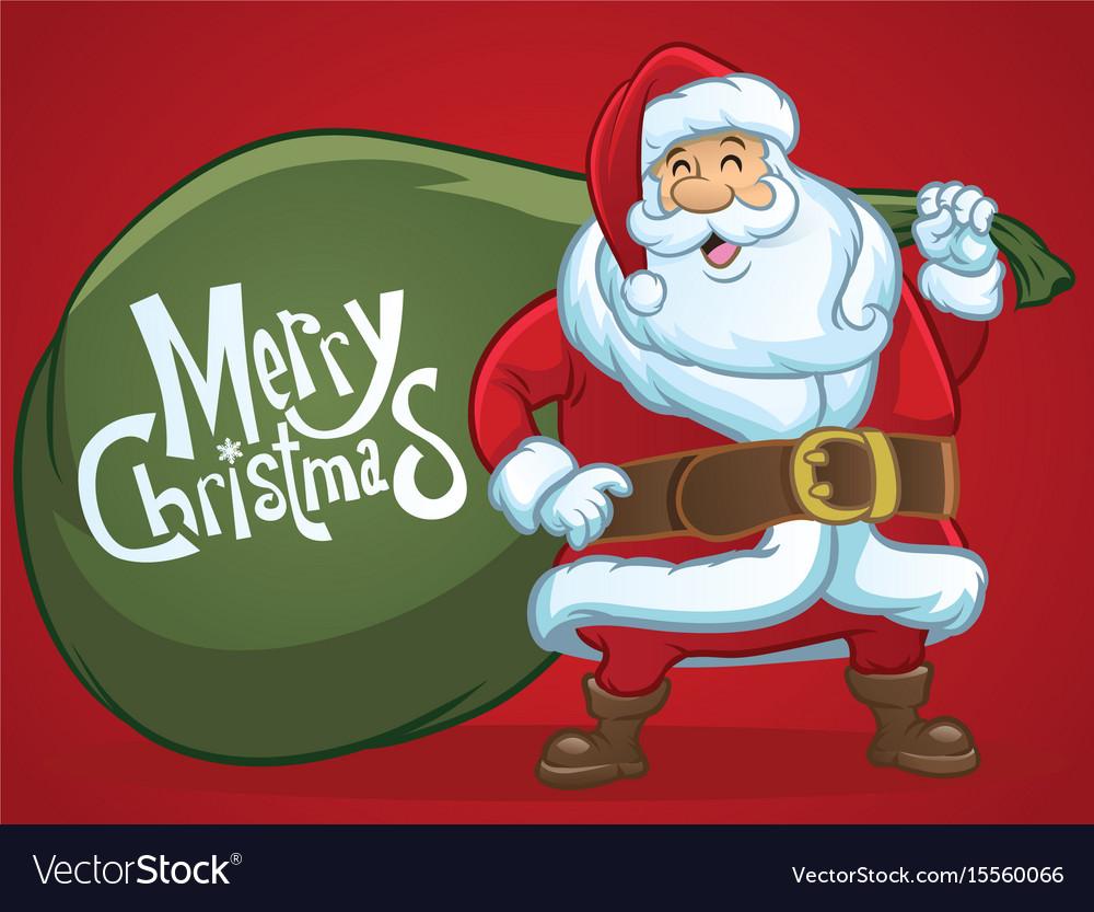 Cheerful santa claus greeting christmas
