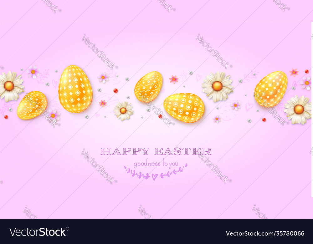 Festive pattern from golden eggs spring flowers