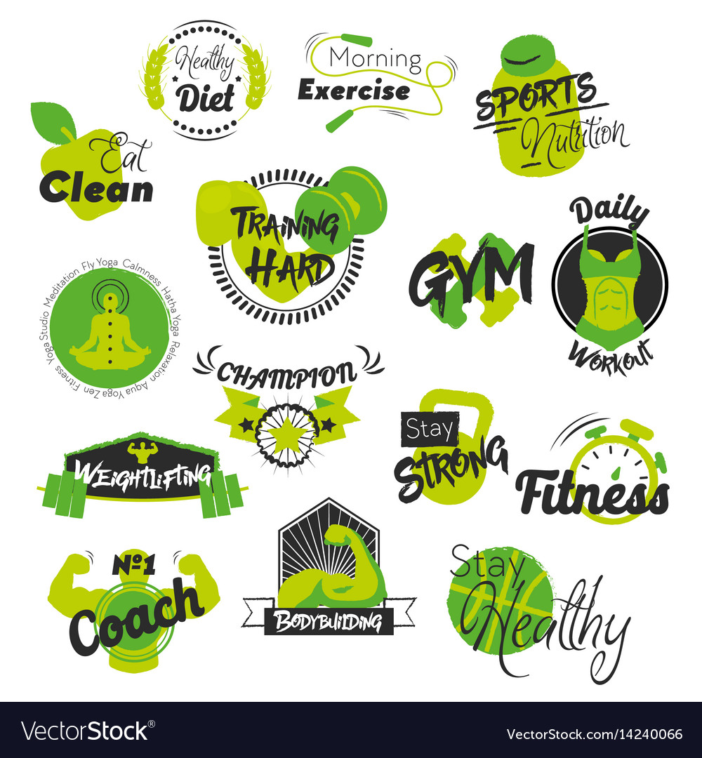 Fitness and gym hand drawn logos
