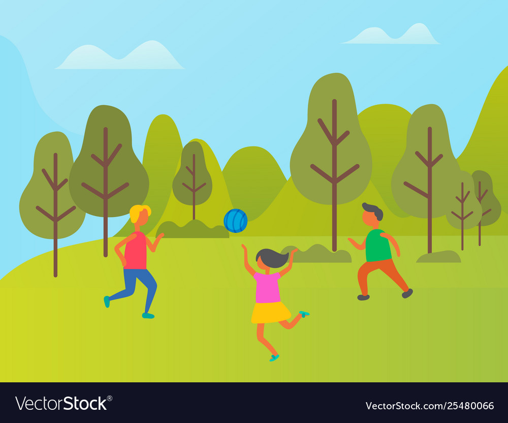 Girls and boy playing volleyball in forest
