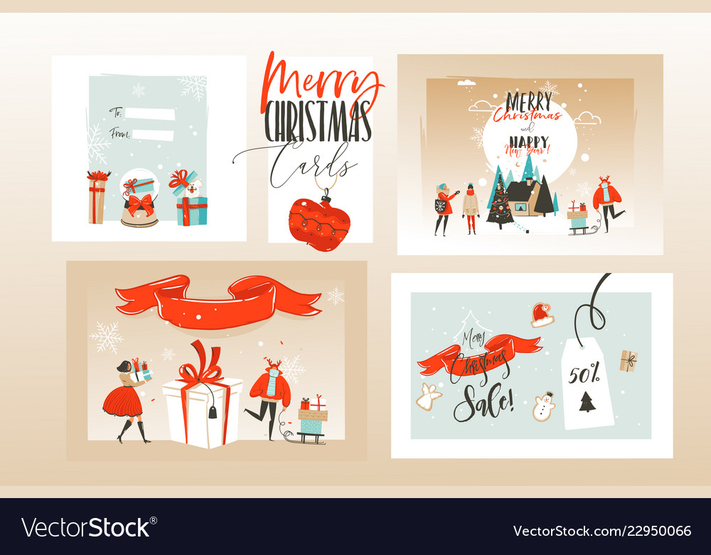 Hand drawn abstract fun merry christmas