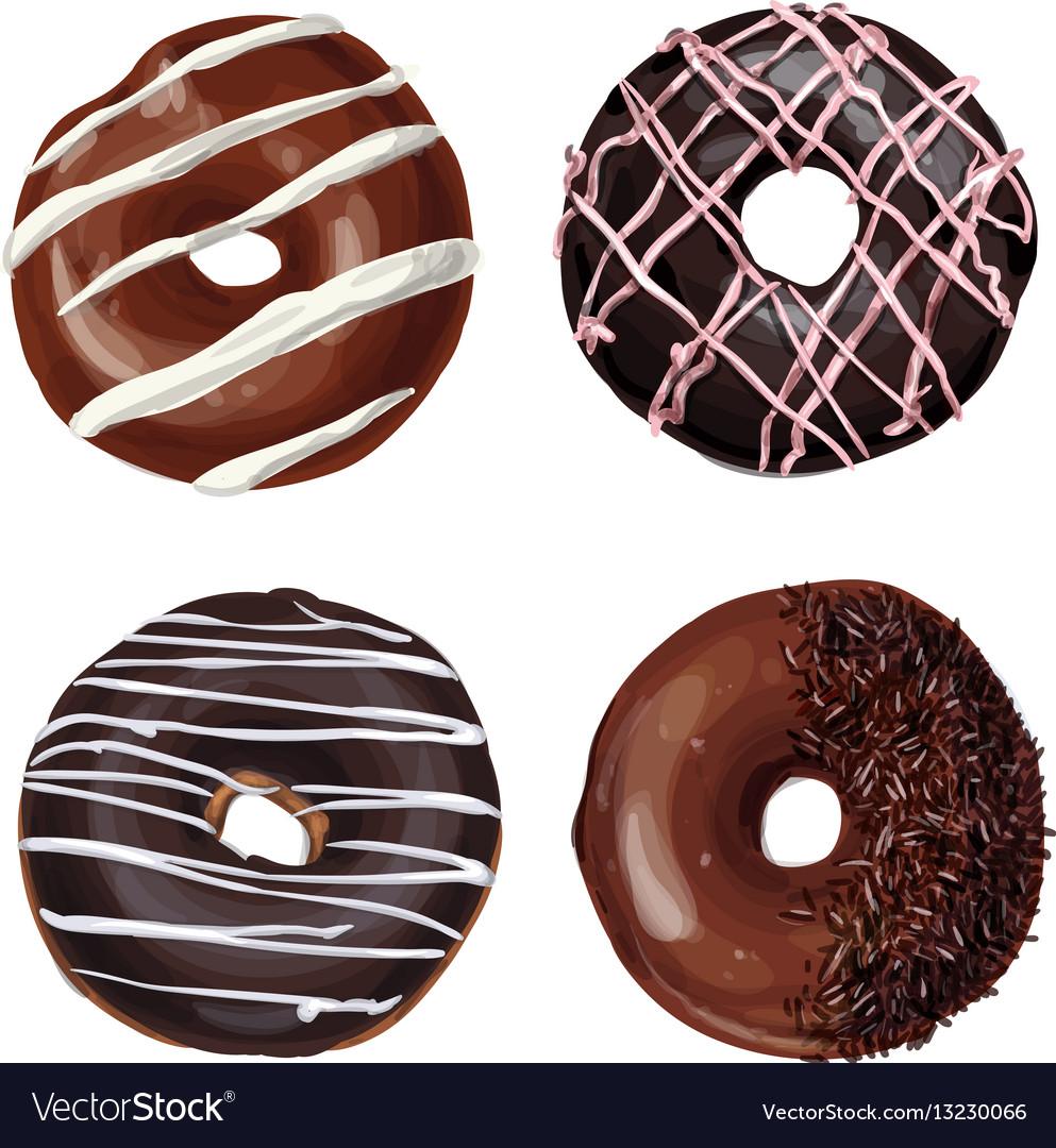 Hand drawn tasty donuts vector image