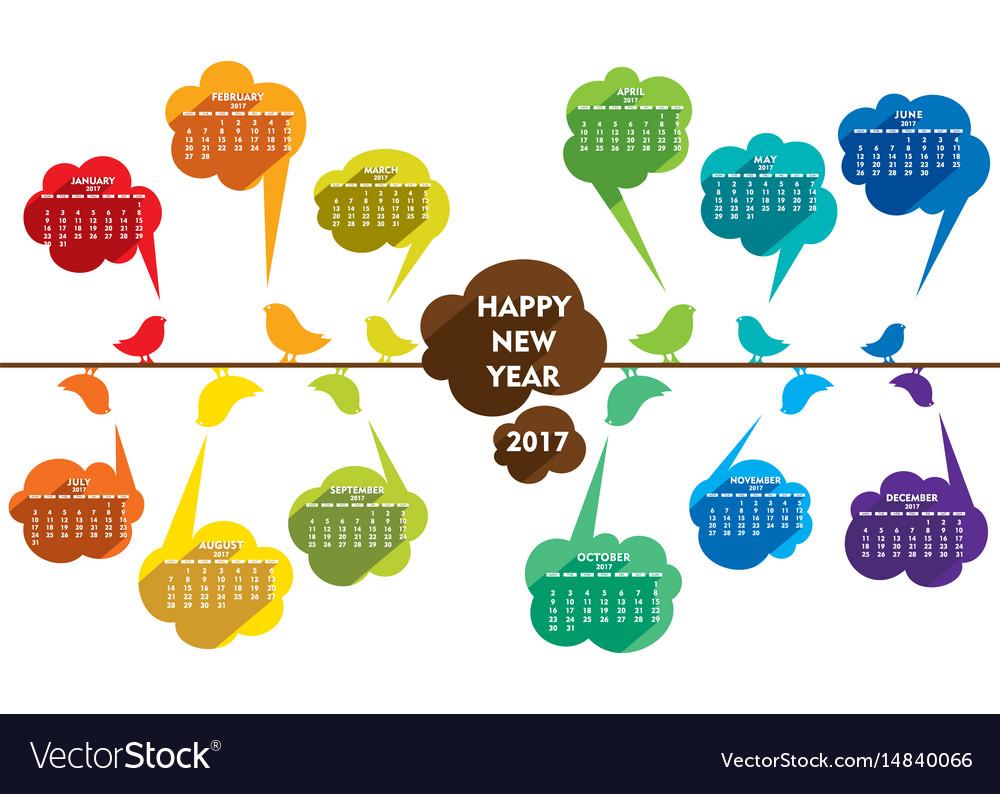 Happy new year 2017 calendar design