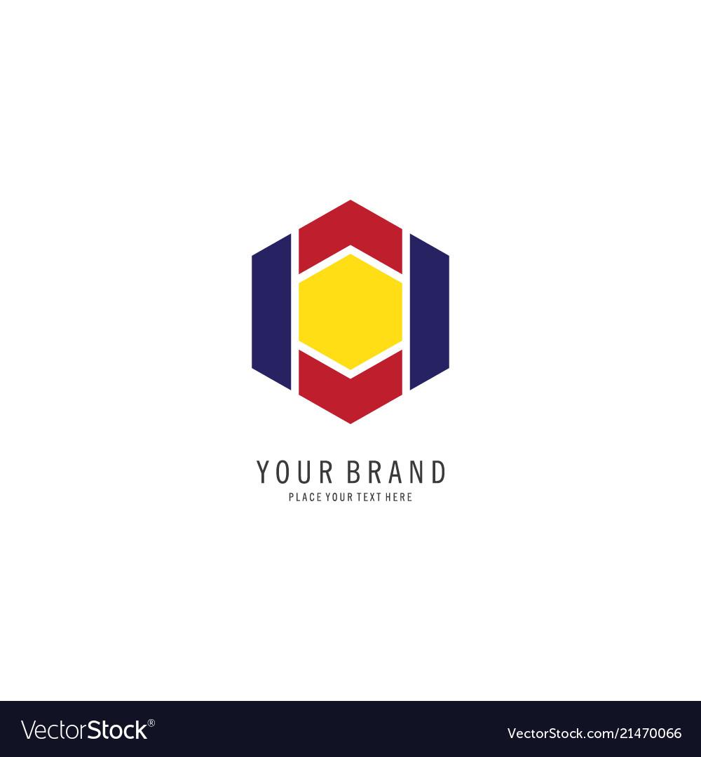 Hexagonal finance symbol logo