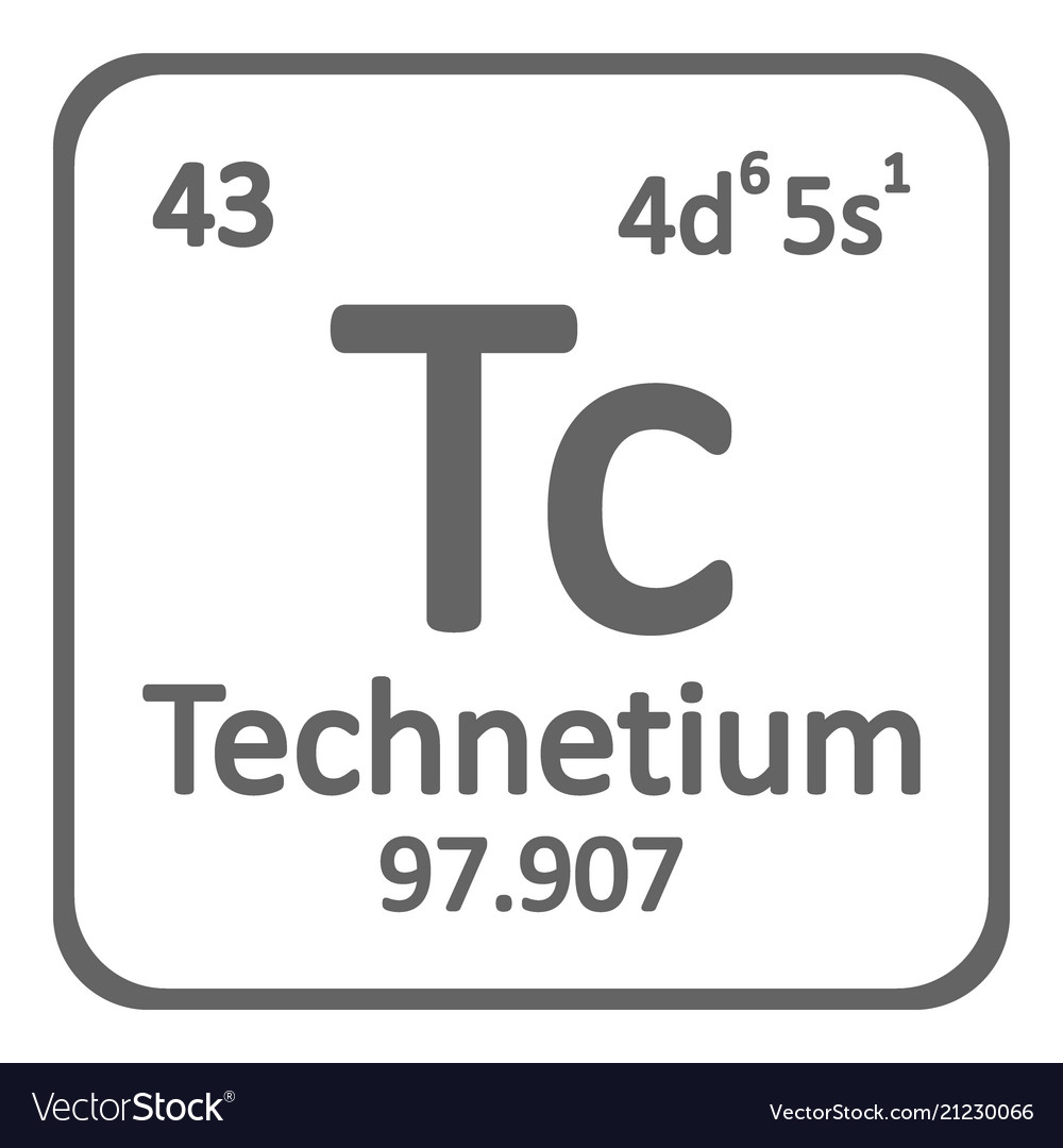 Periodic Table Element Technetium Icon Royalty Free Vector