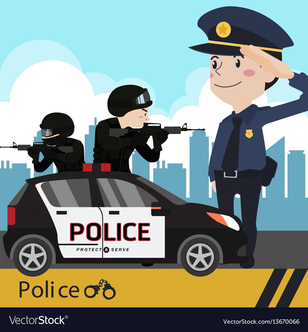 Police set cartoon