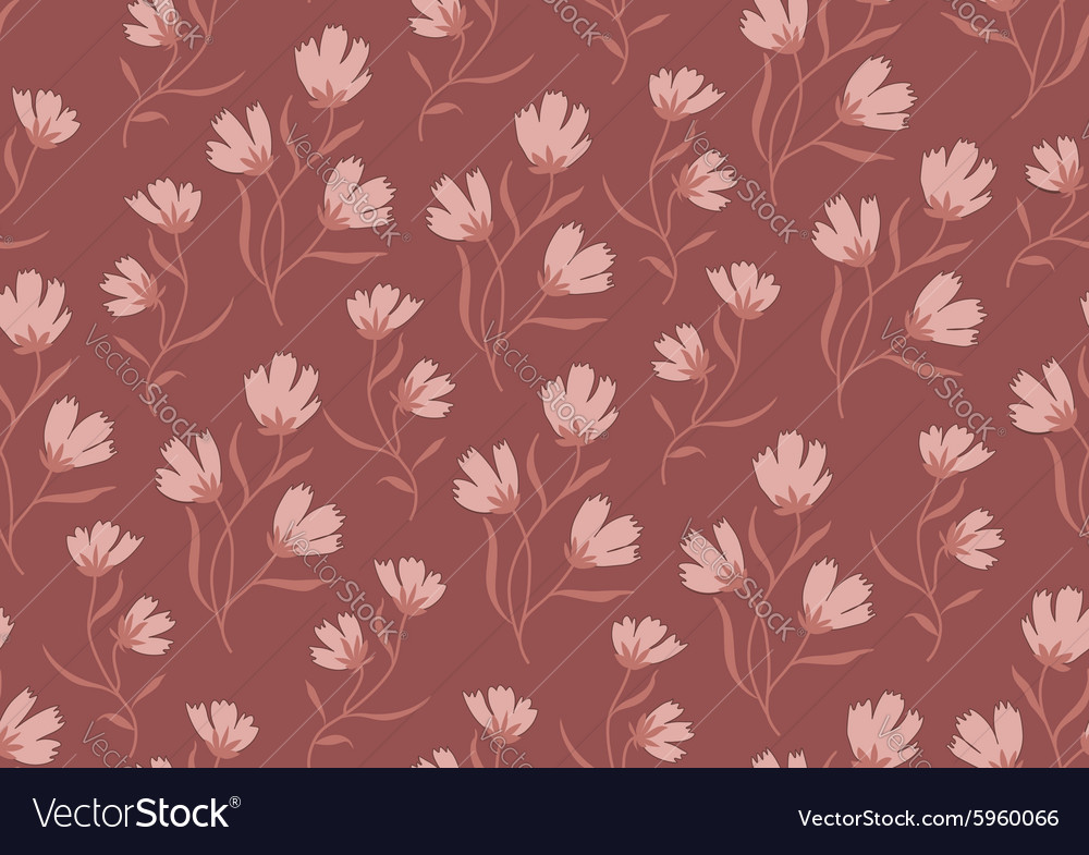Seamless pattern autumn flowers colored in modern vector image