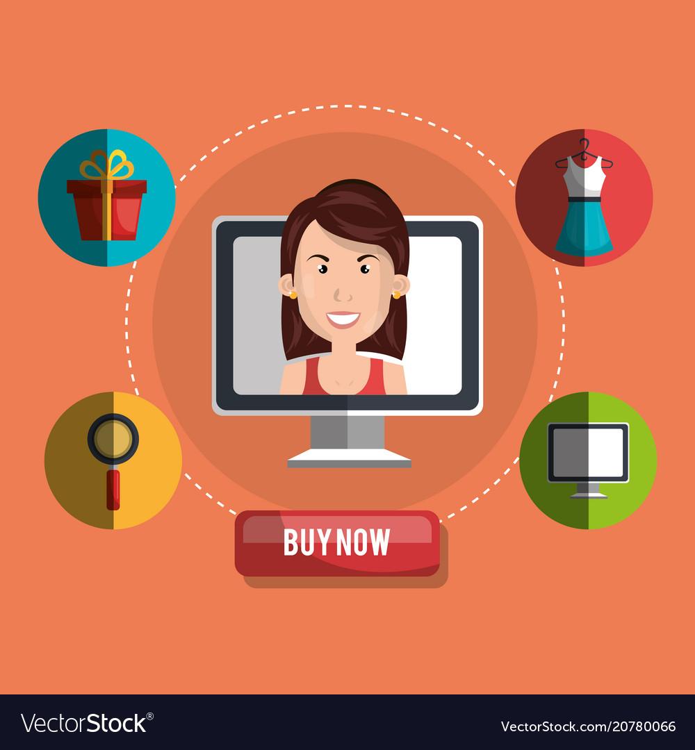 Shopping online set icons