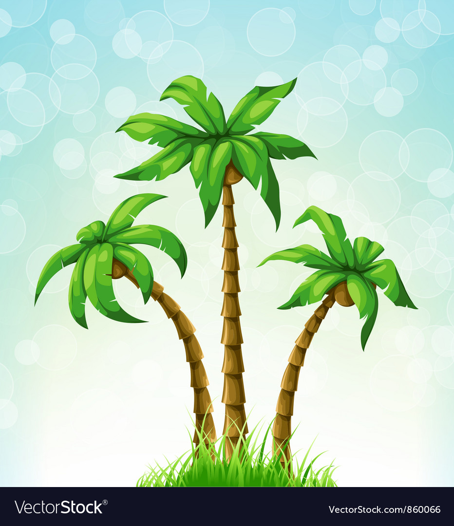 Summer with palm trees vector image