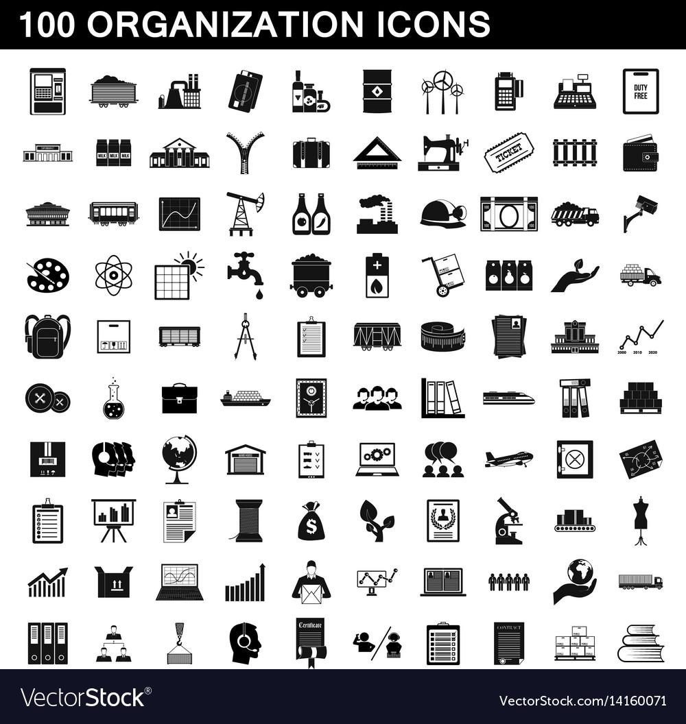 100 organization icons set simple style