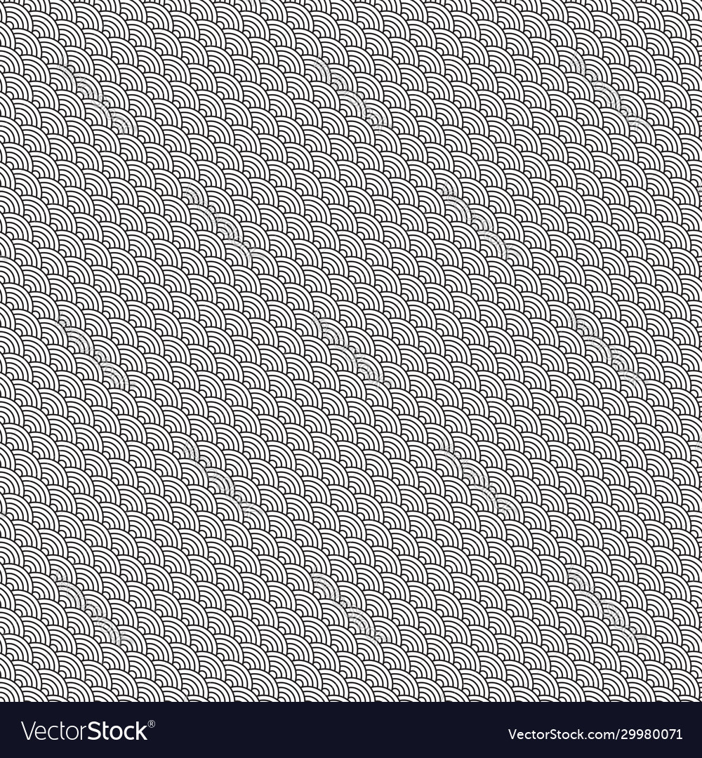 Black white waves traditional seamless pattern