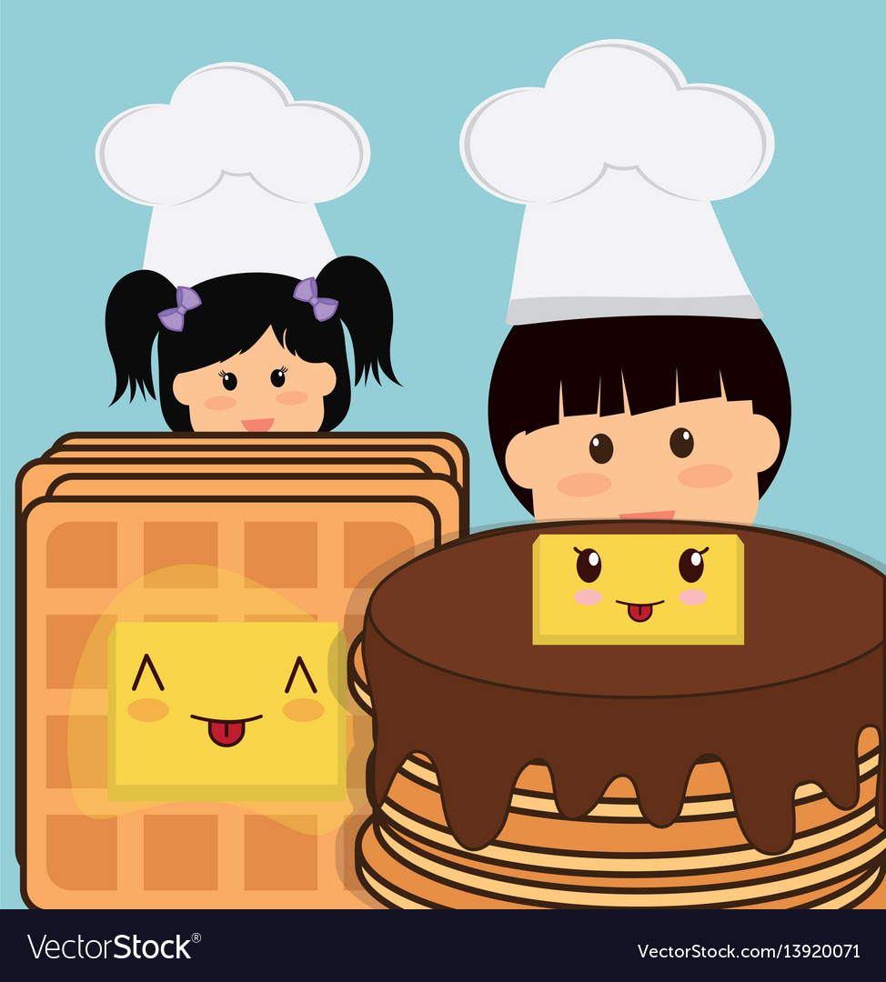 Chef boy and girl pancake bread butter