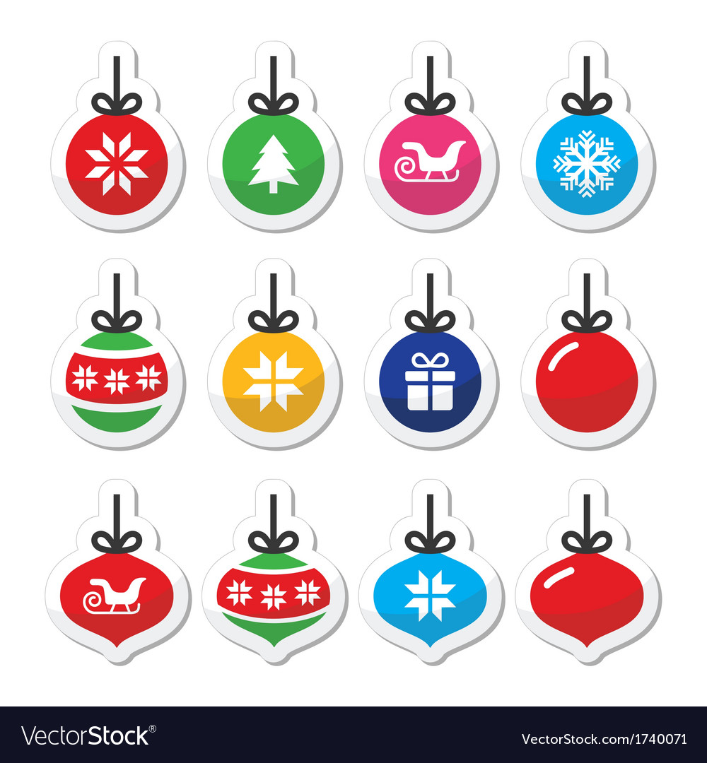 Christmas ball christmas bauble icons set