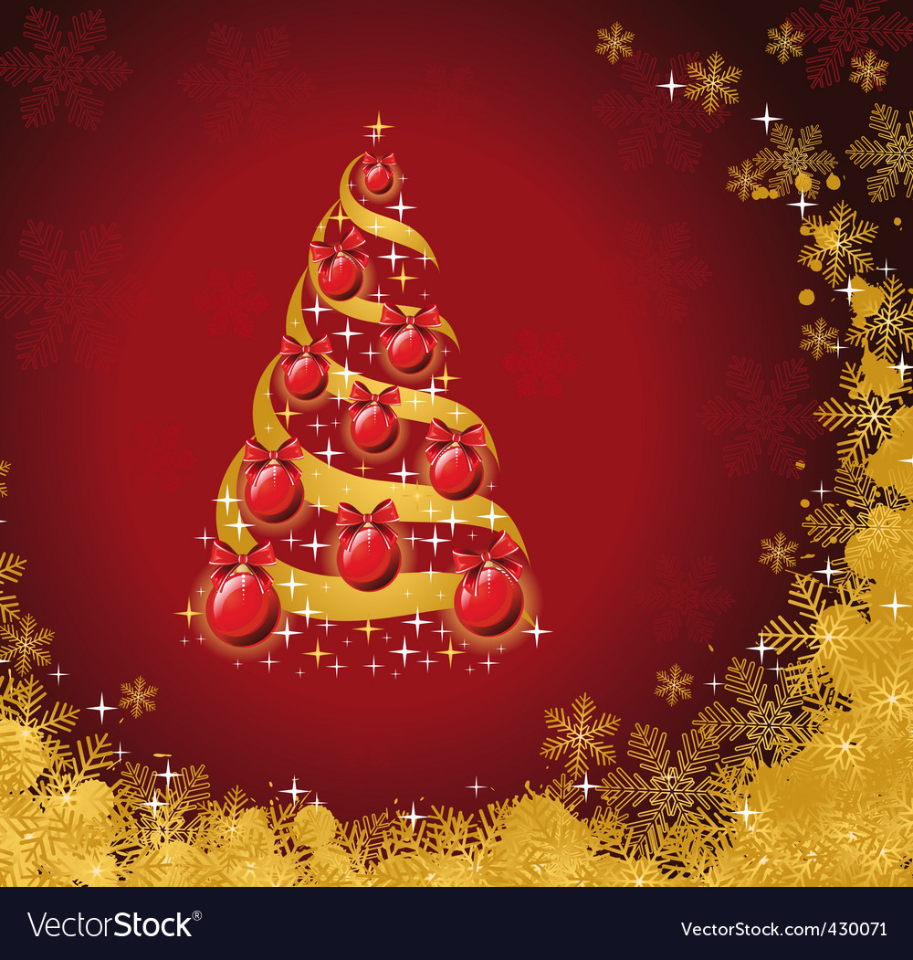 Christmas tree with golden snow