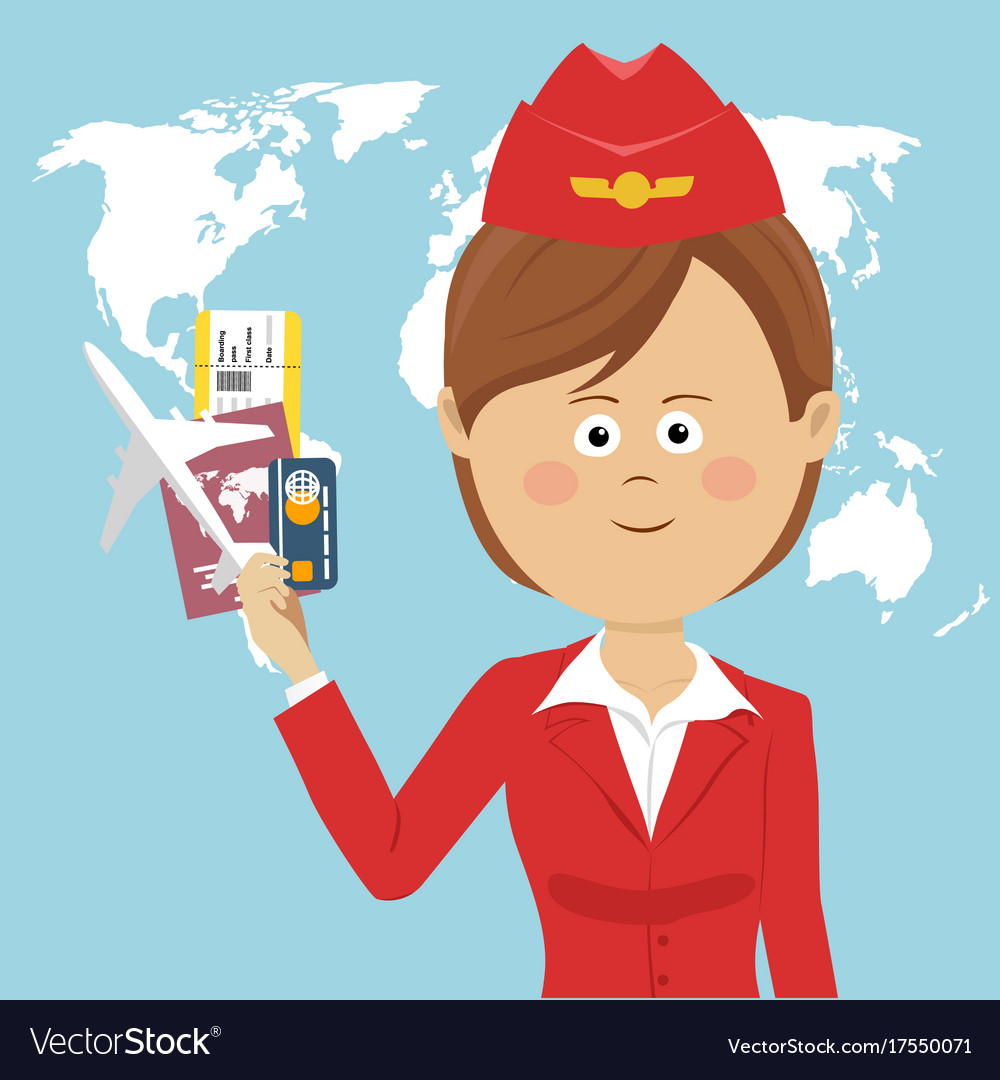 Cute air hostess in red uniform over global map