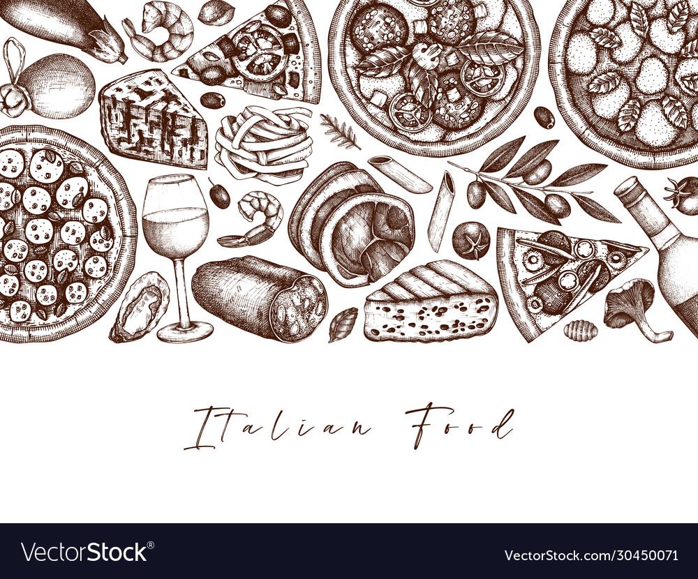 Hand drawn pizza pasta ravioli and ingredients