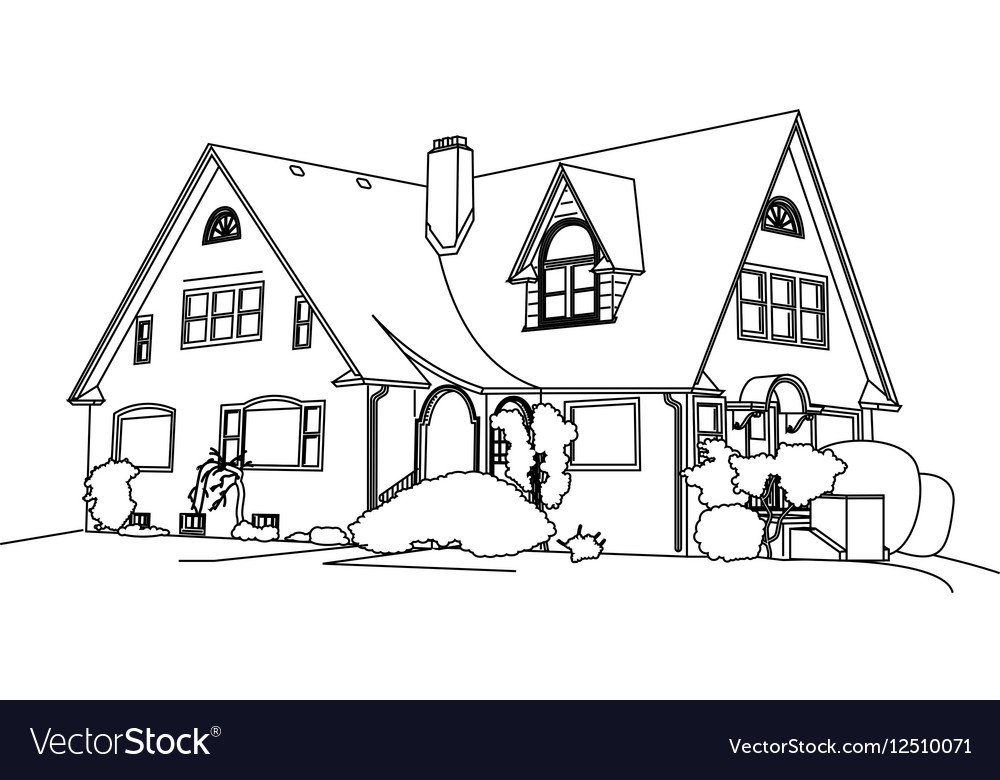 Luxury house drawing vector image