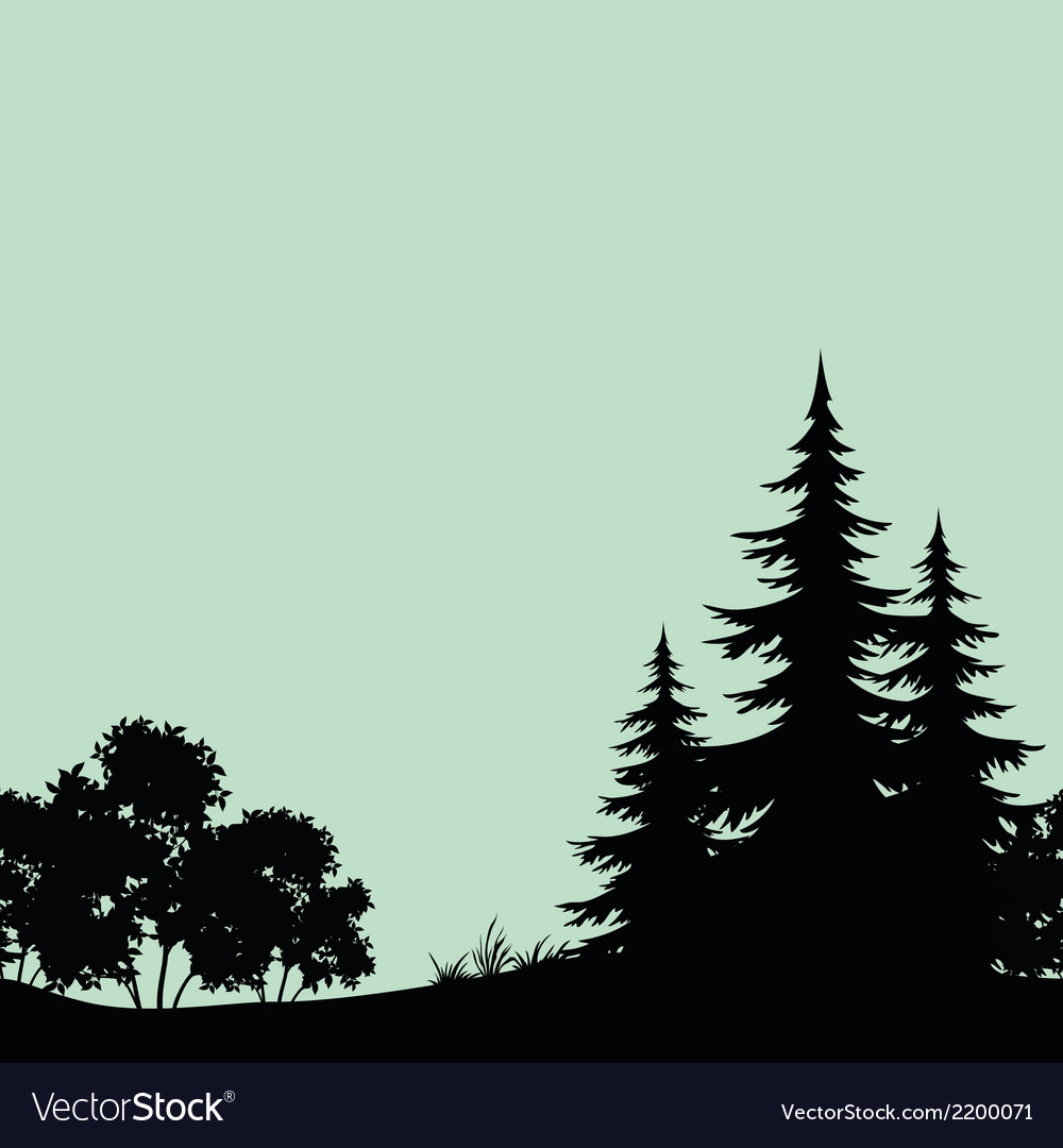 Seamless landscape night forest silhouettes