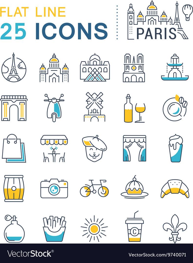 Set Flat Line Icons Paris