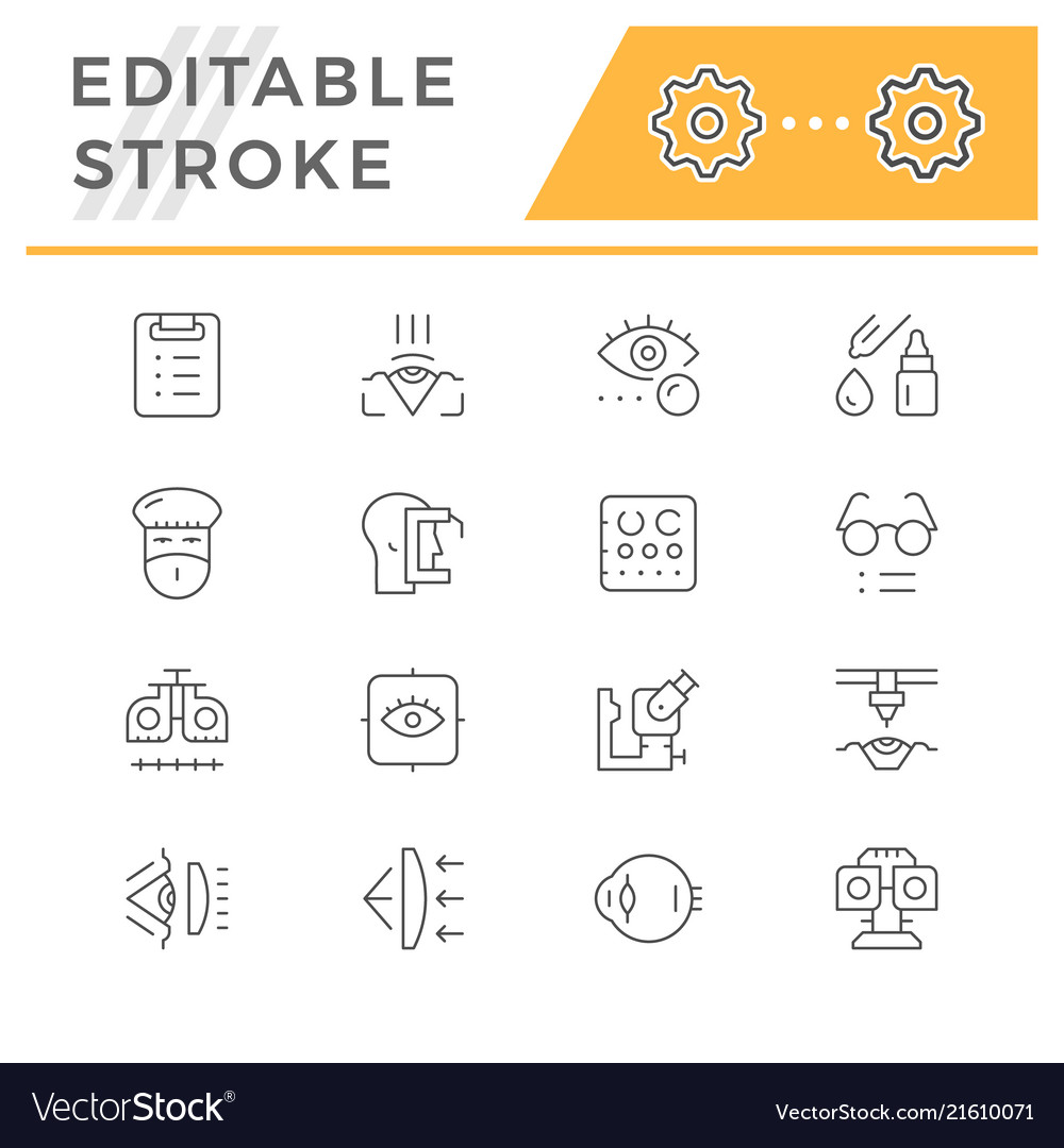 Set line icons of ophthalmology