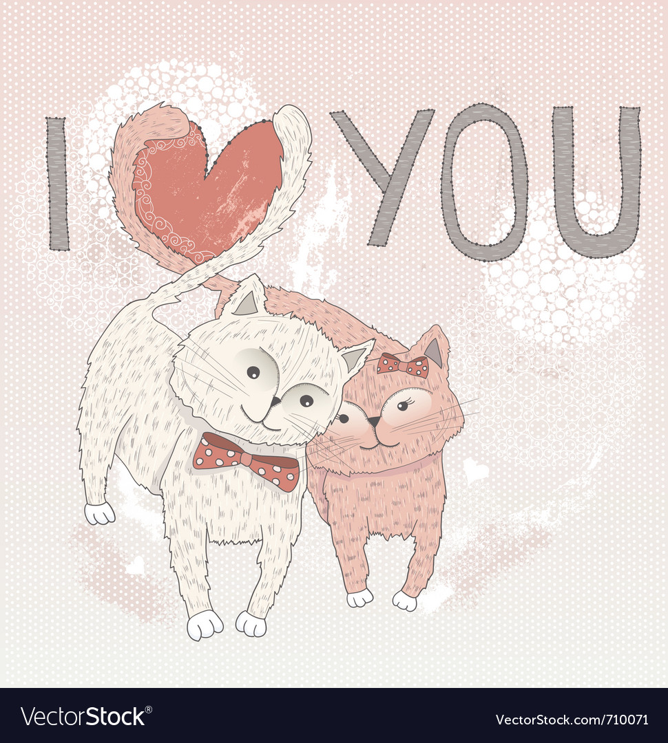 Valentines day card cute cats in love