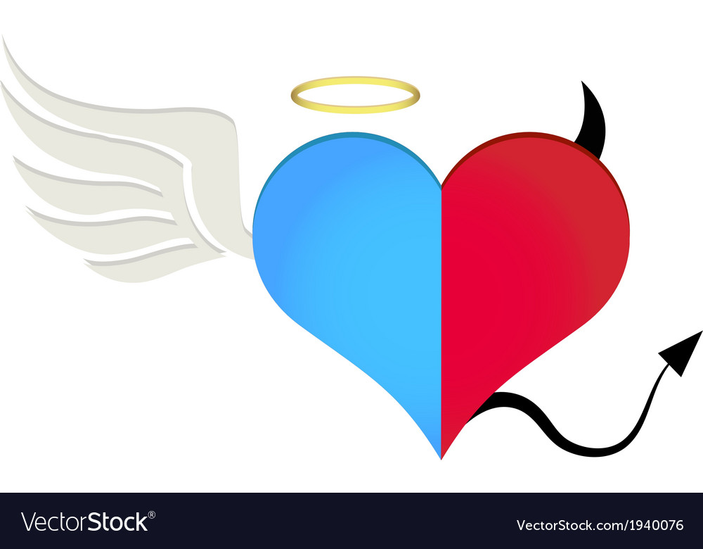 angel devil heart royalty free vector image vectorstock