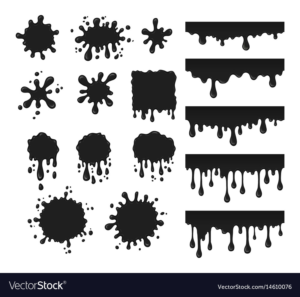 Black drops set vector image