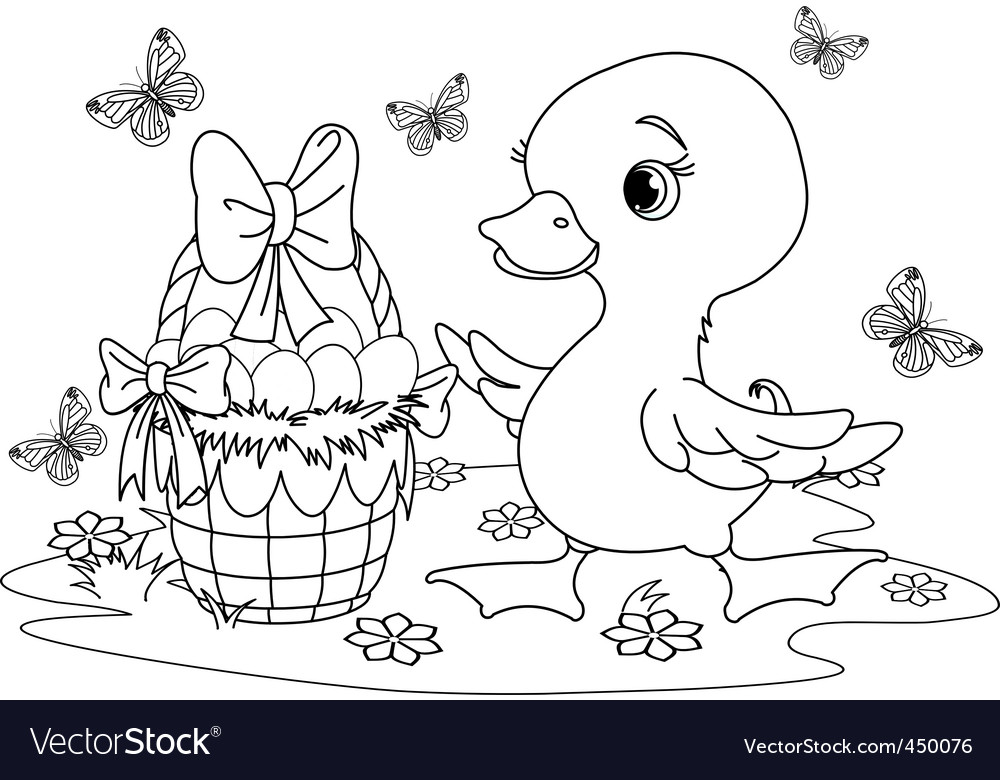 Easter duckling coloring page Royalty Free Vector Image
