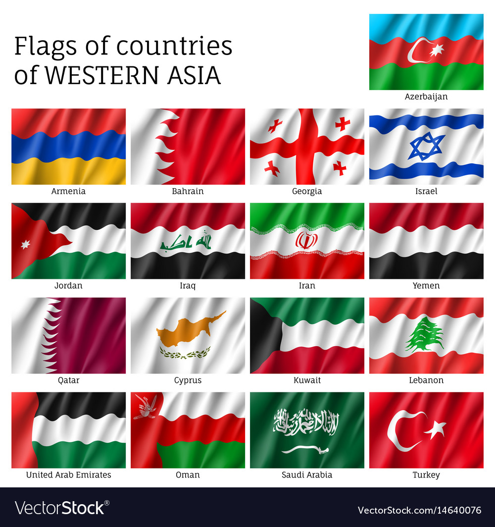 Flags of western asia states vector image