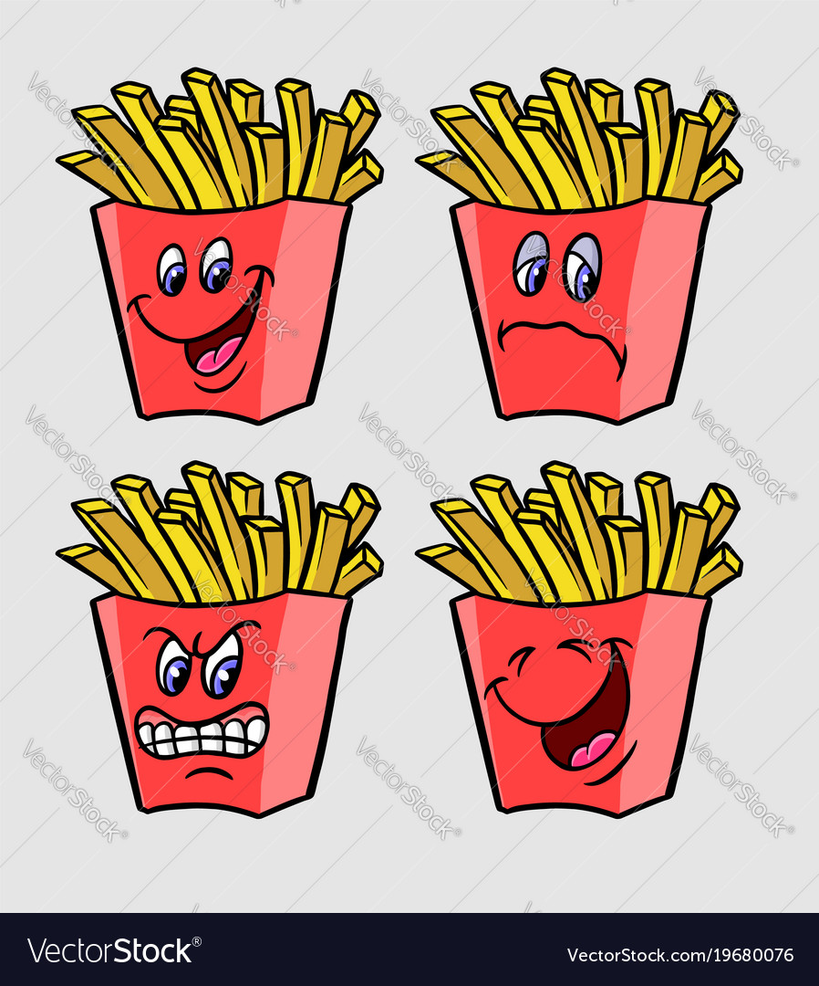 Friend fries cartoon character expression