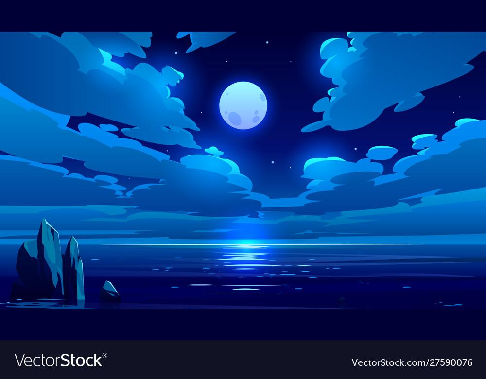 Full moon night ocean or sea landscape moonlight