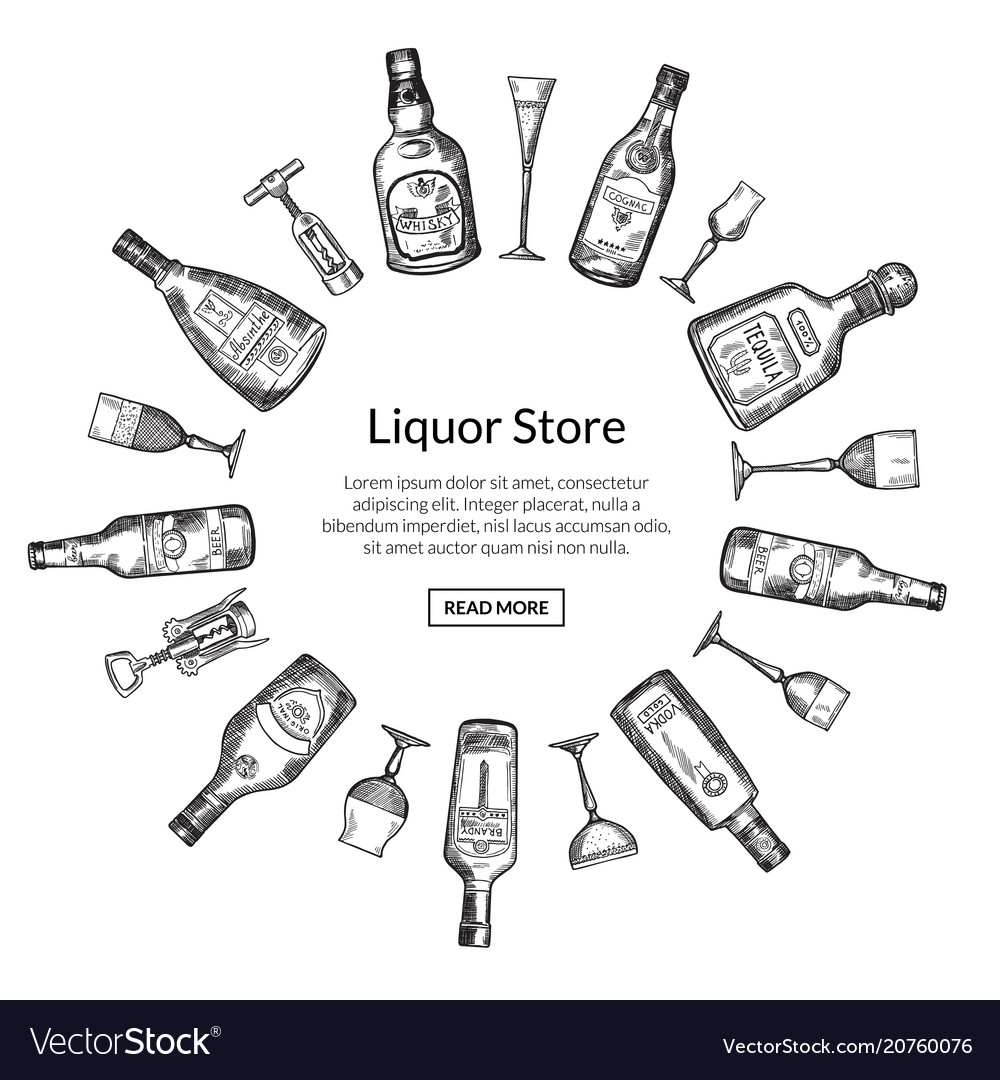 Hand drawn alcohol drink bottles and