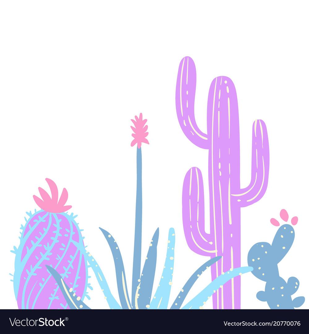 Hand drawn pastel cactuses