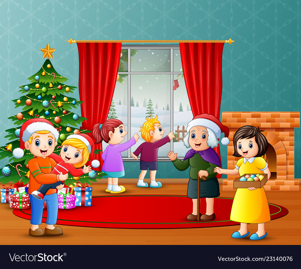 Christmas Celebration Cartoon Images.Happy Family Celebration A Christmas In The Living