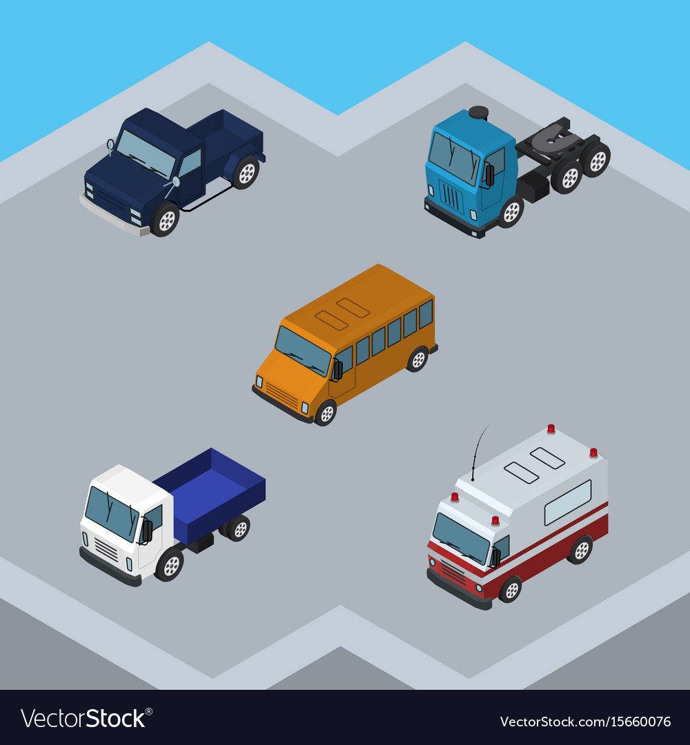 Isometric automobile set of lorry truck suv and vector image